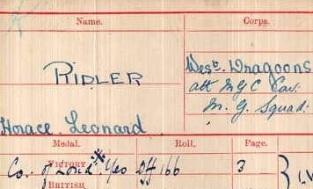 HL Ridler Medal Card